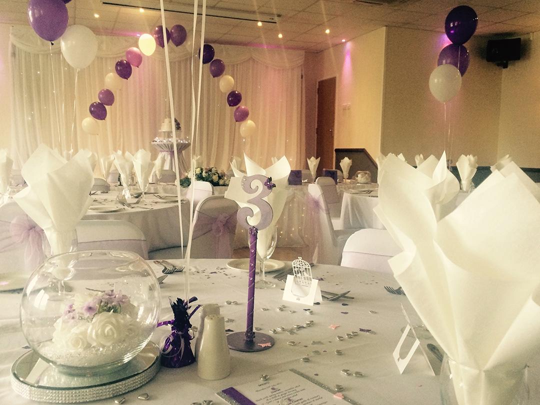 Wedding breakfast purple colour scheme balloons