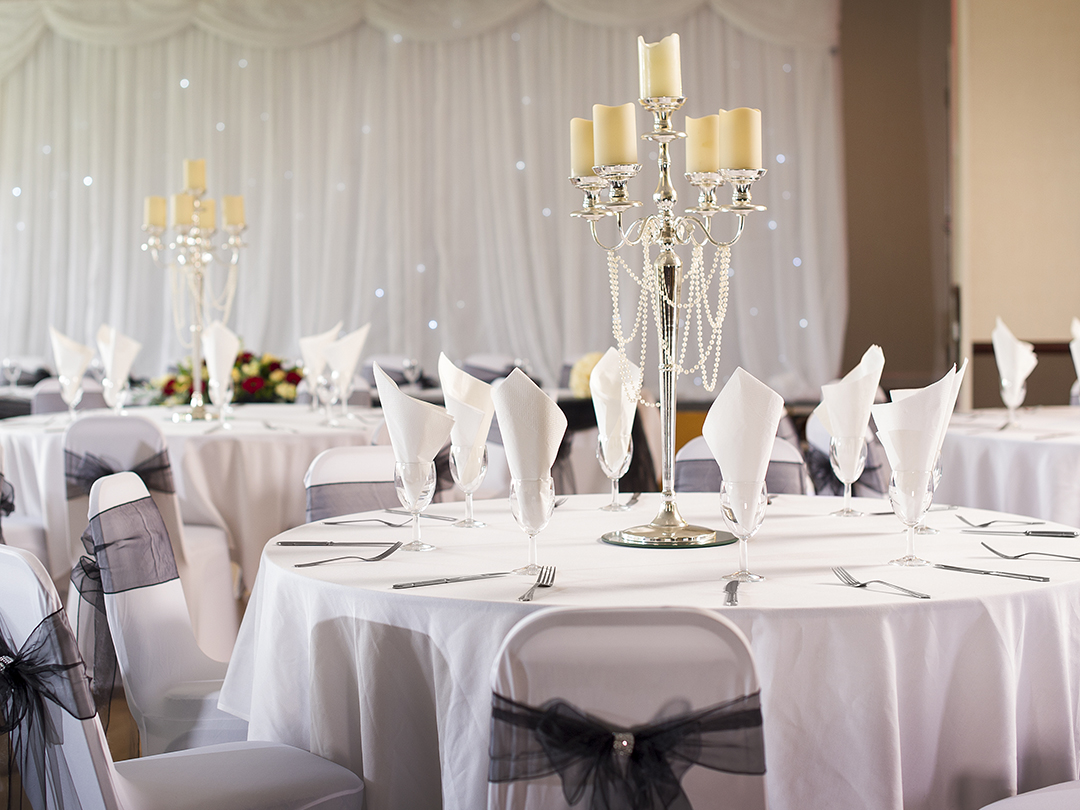 Wedding breakfast black colour scheme