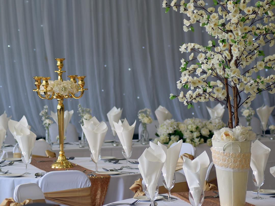 Gold Colour Scheme Wedding Breakfast